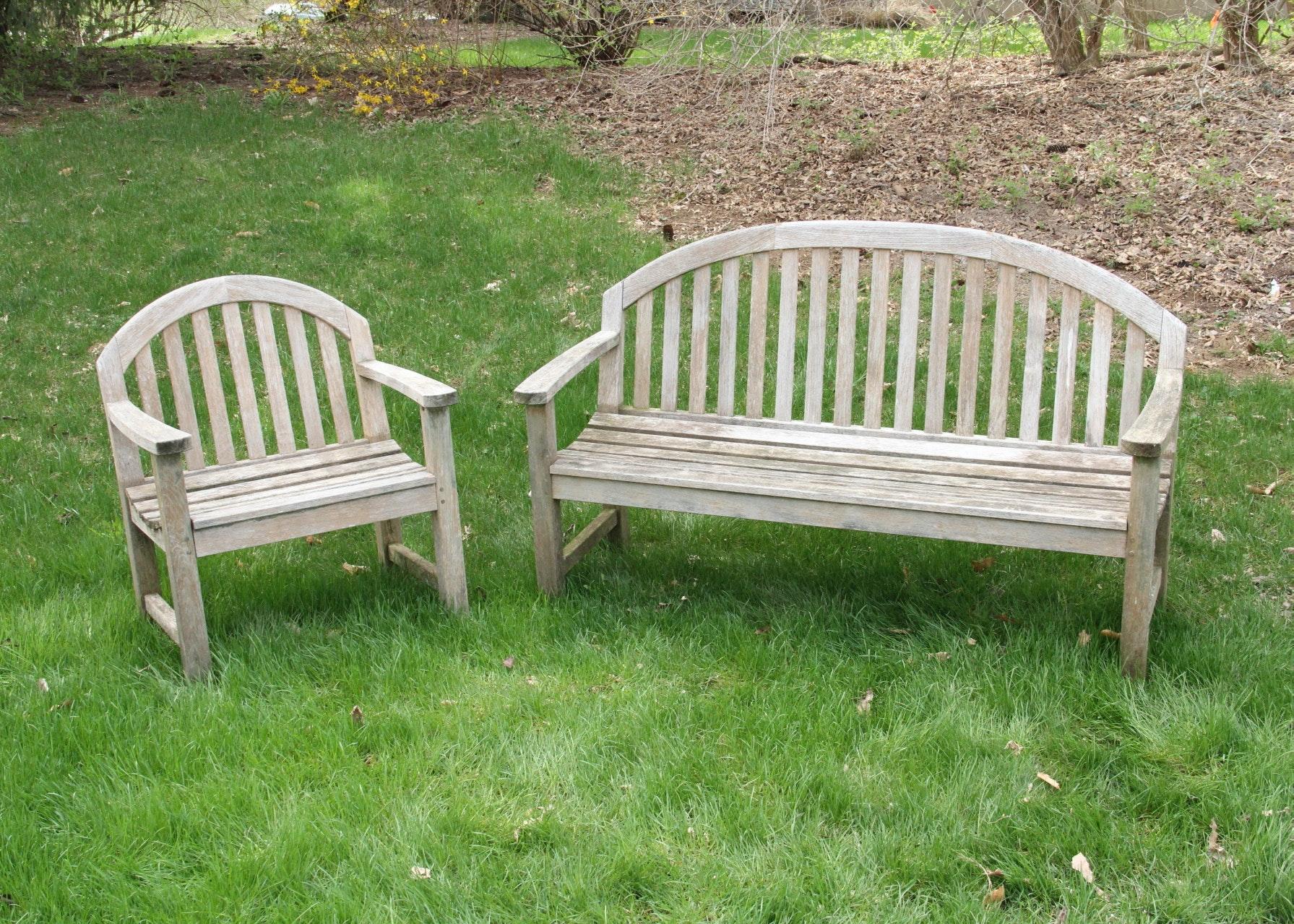 Smith U0026 Hawken Teak Bench And Chair ...