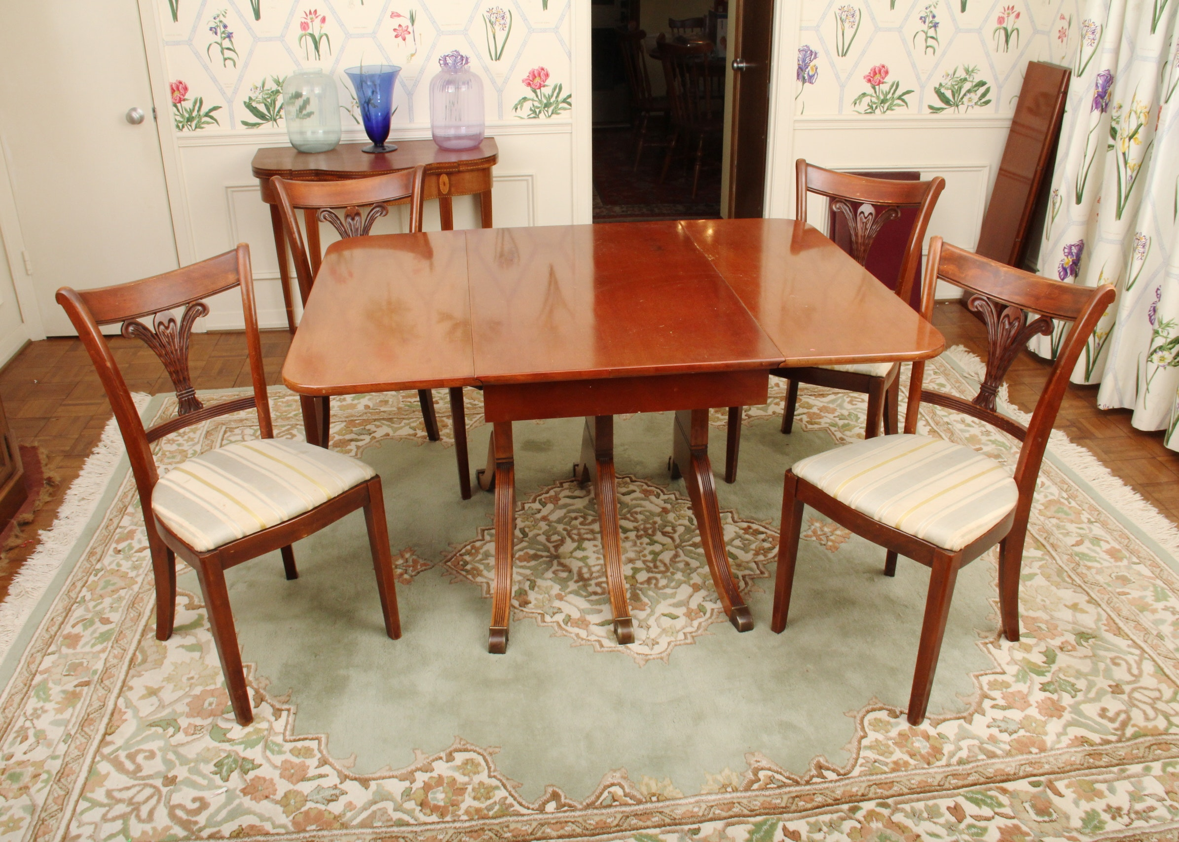 Duncan phyfe rose back chairs - Duncan Phyfe Style Dining Room Table And Chairs