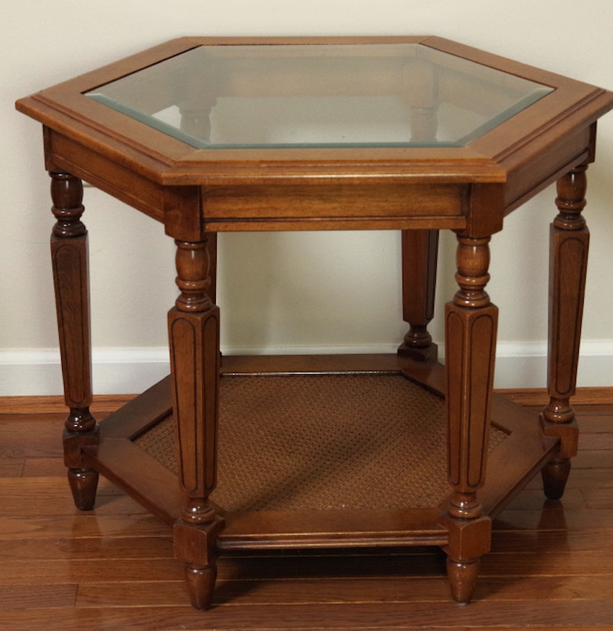 Vintage hexagonal end table wood with glass insert top ebth for Glass end tables