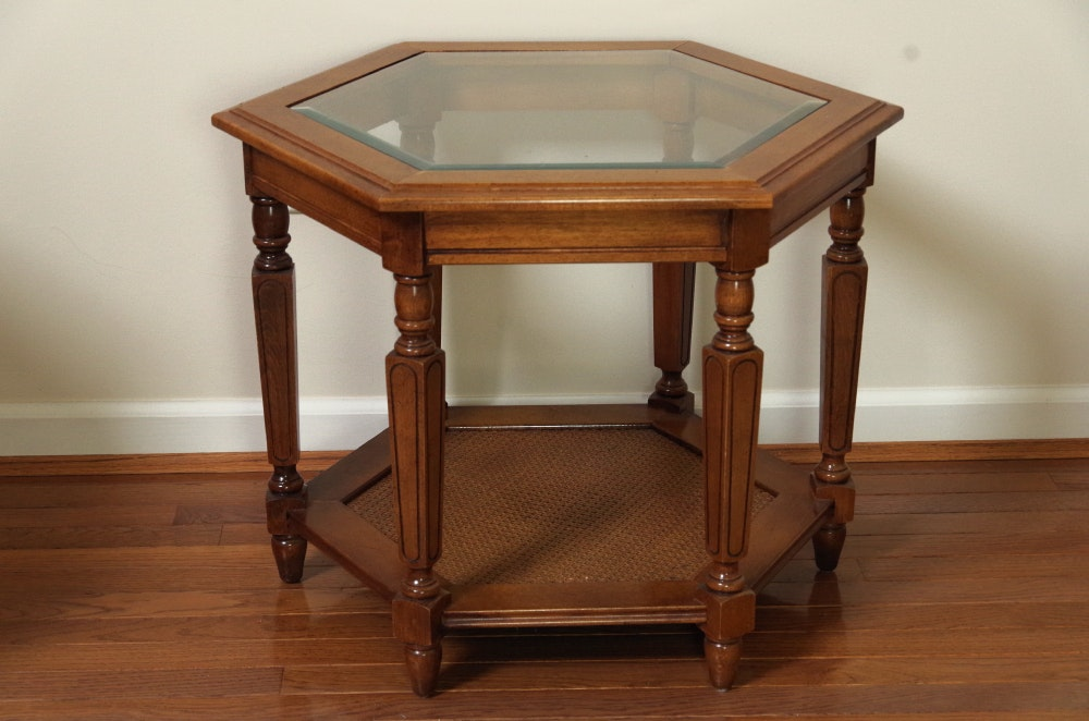 Vintage Hexagonal End Table Wood With Glass Insert Top