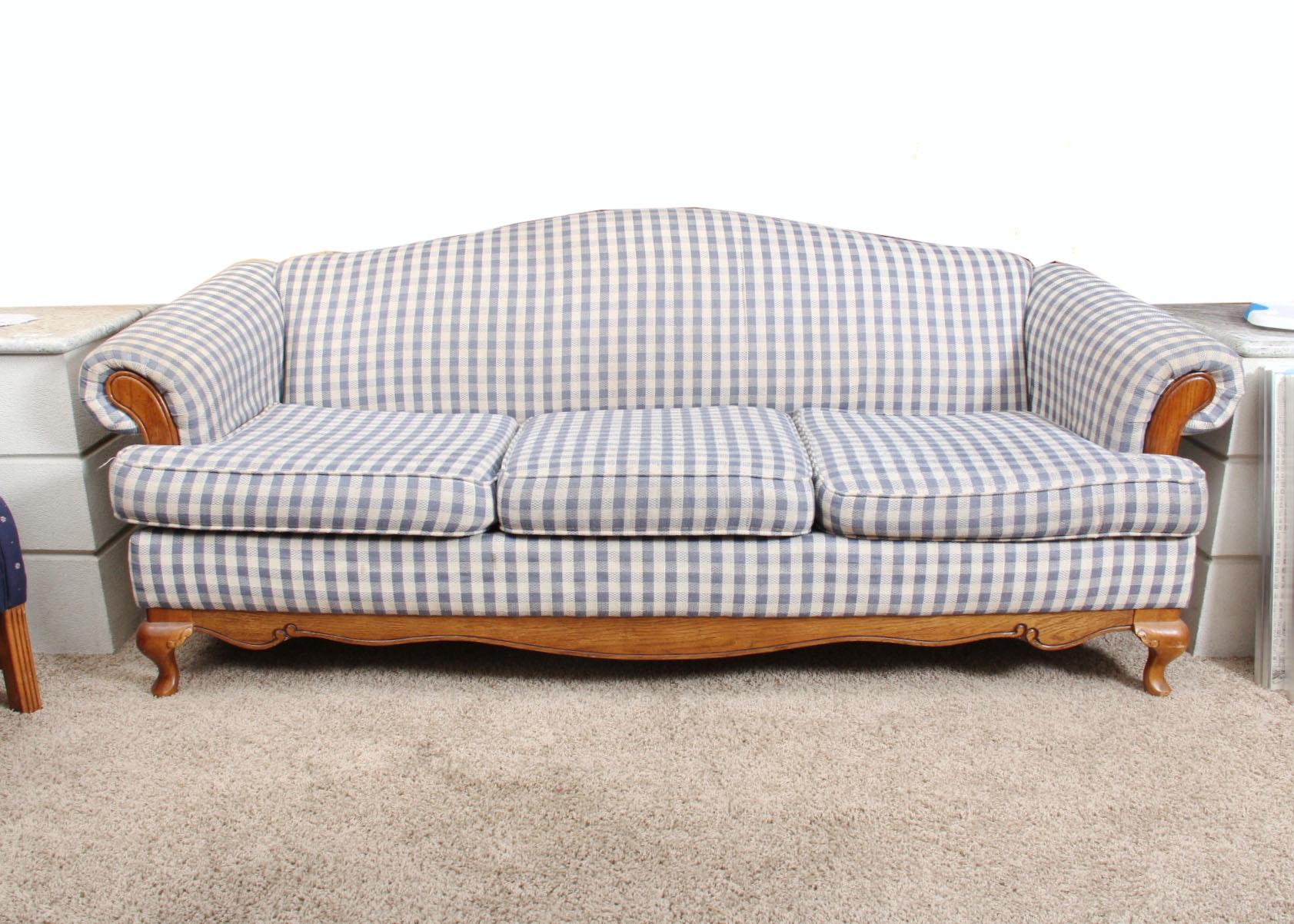 Beau Blue And White Gingham Sofa ...