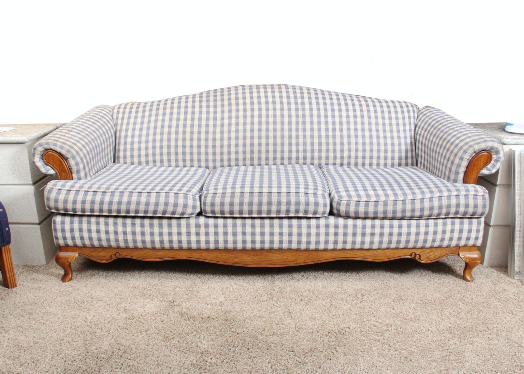 Blue And White Gingham Sofa ...