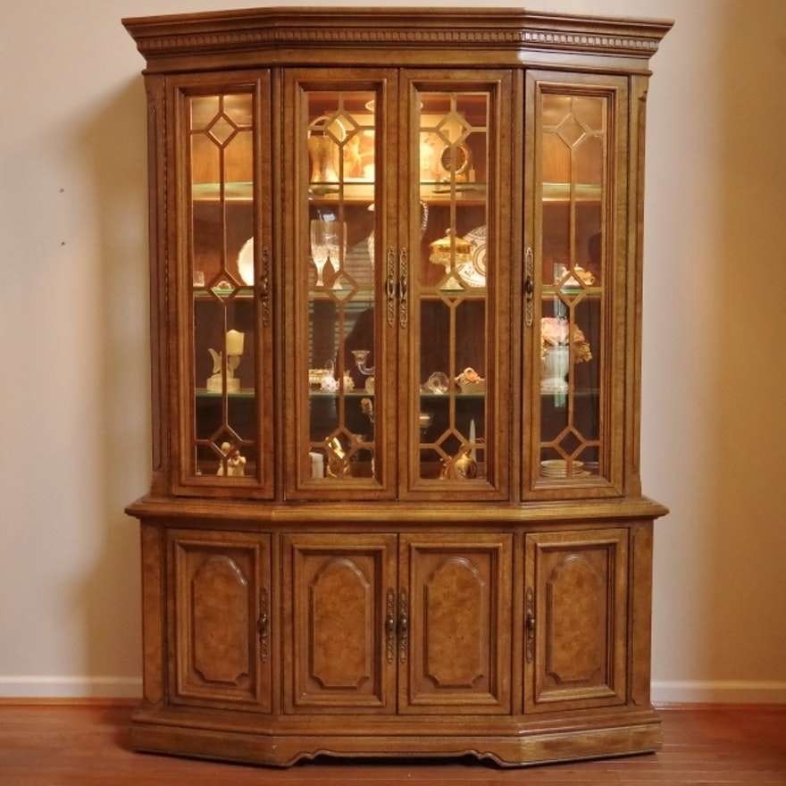 Unique Furniture Makers Pecan China Display Cabinet Ebth
