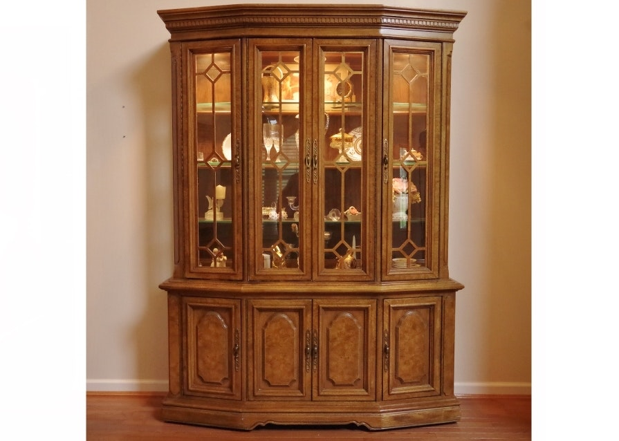 Awesome Unique Furniture Makers Pecan China Display Cabinet ...