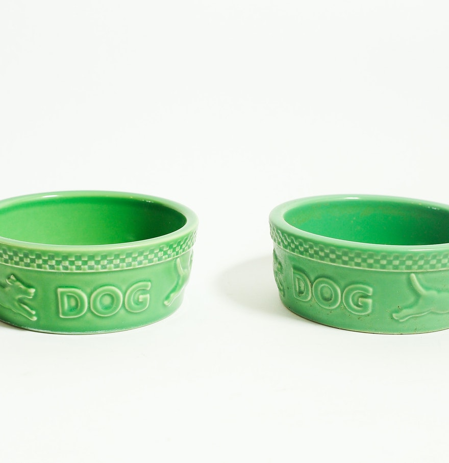 Green Longaberger Ceramic Dog Bowls Ebth