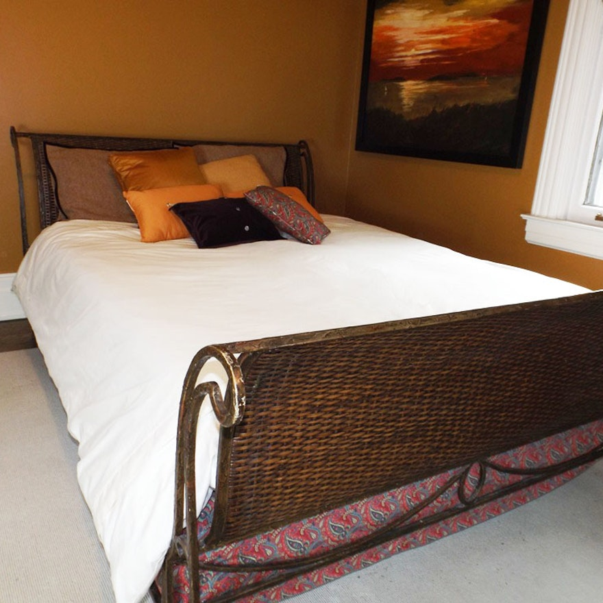 Wicker And Iron Sleigh Bed With Linens Ralph Lauren Pillows
