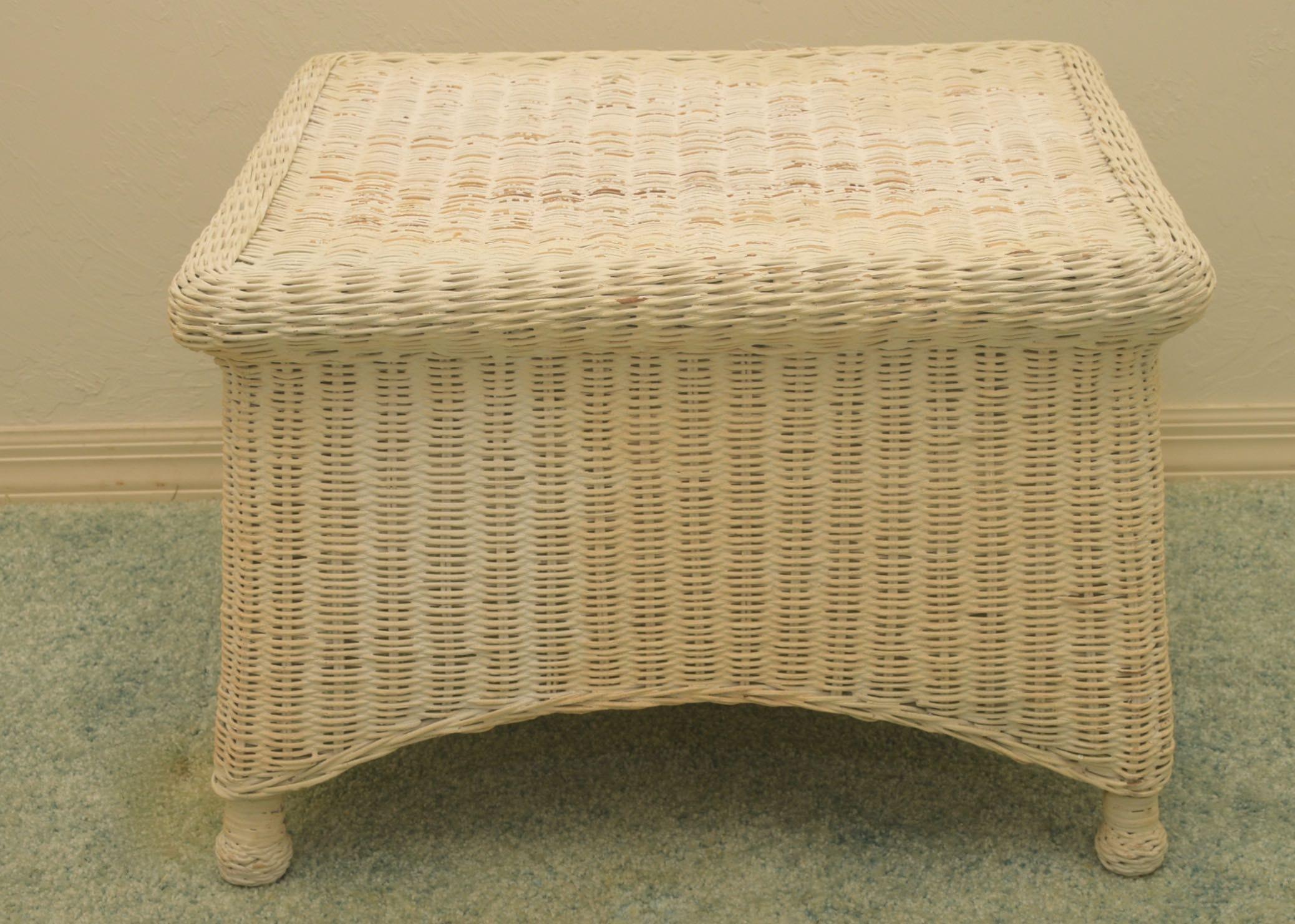 delightful White Wicker Footstools Part - 12: White Wicker Footstool ...