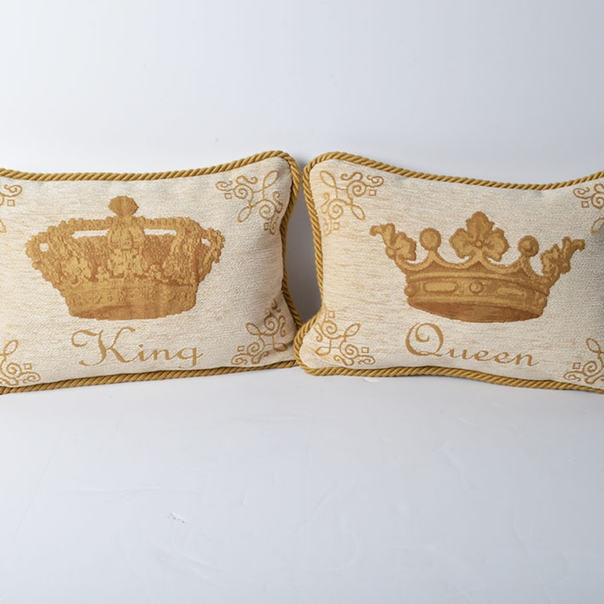 King And Queen Decorative Pillows By Two's Company EBTH Mesmerizing King And Queen Decorative Pillows