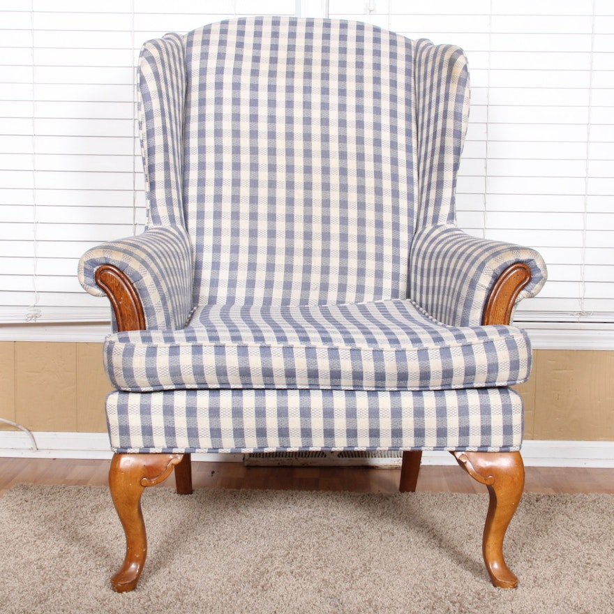 Gingham Wingback Chair In Blue And White Ebth