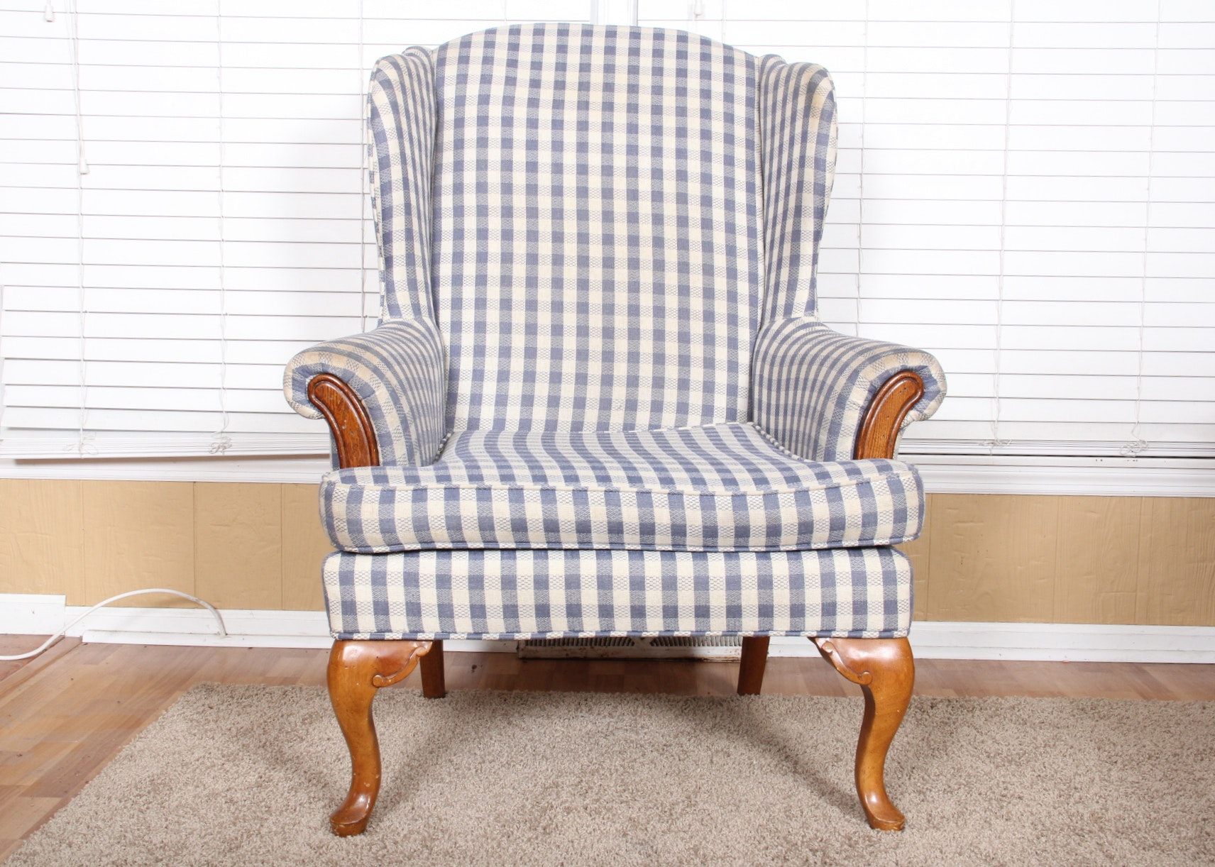 Gingham Wingback Chair In Blue And White ...