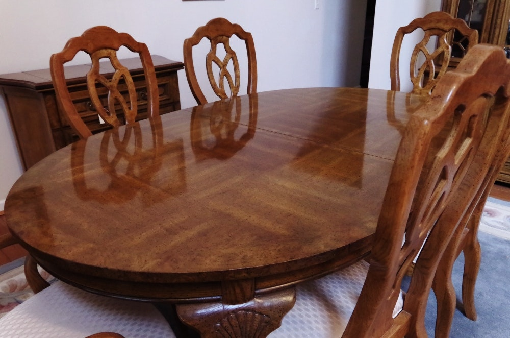 Unique Furniture Makers Pecan Dining Room Table And Chairs