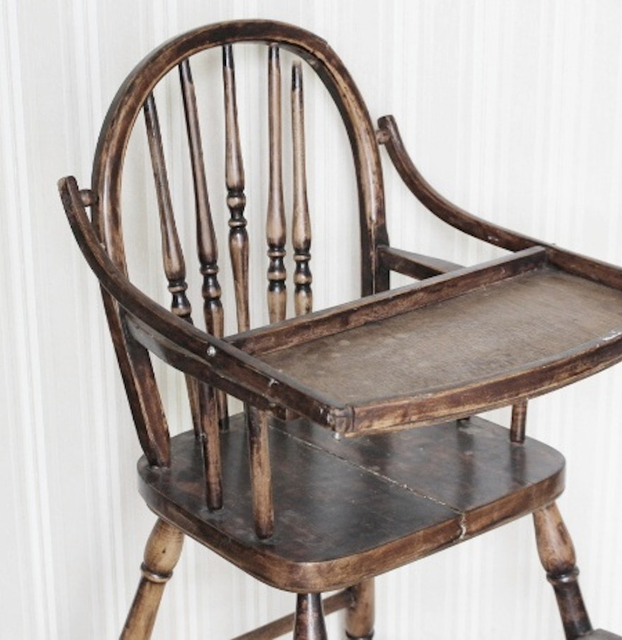Vintage wooden high chair - Vintage Wood Windsor Back High Chair
