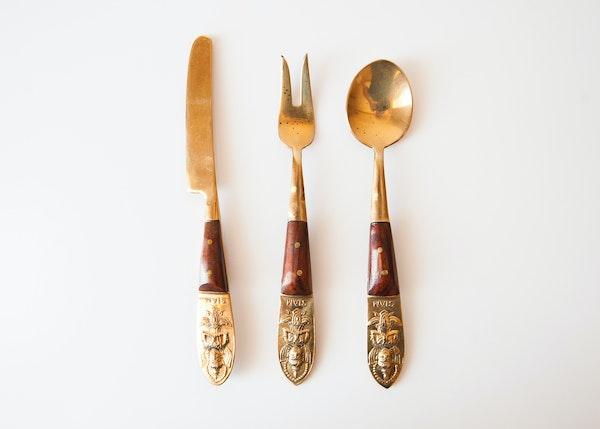 Vintage siam thai nickel bronze and rosewood flatware ebth - Thailand silverware ...