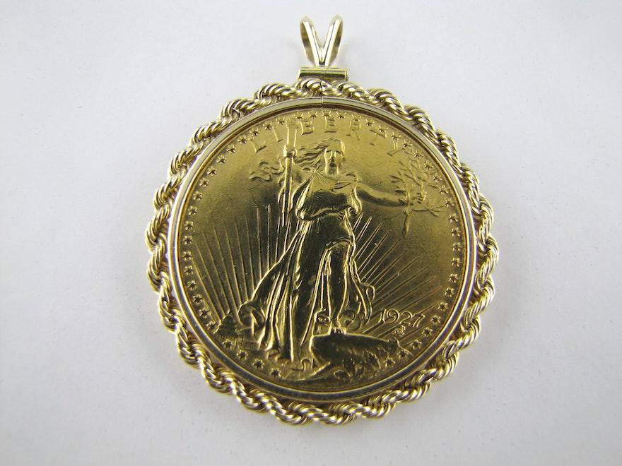 20 dollar gold coin pendant