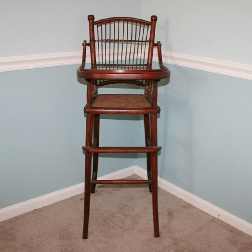 Antique High Chair with Rush Seat ... - Antique High Chair With Rush Seat : EBTH