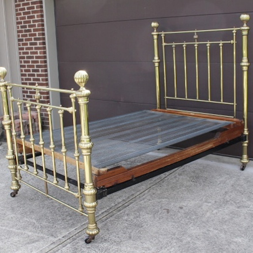 Antique Brass Plated Bed Frame 1800s w/ Unusual wood/steel boxspr