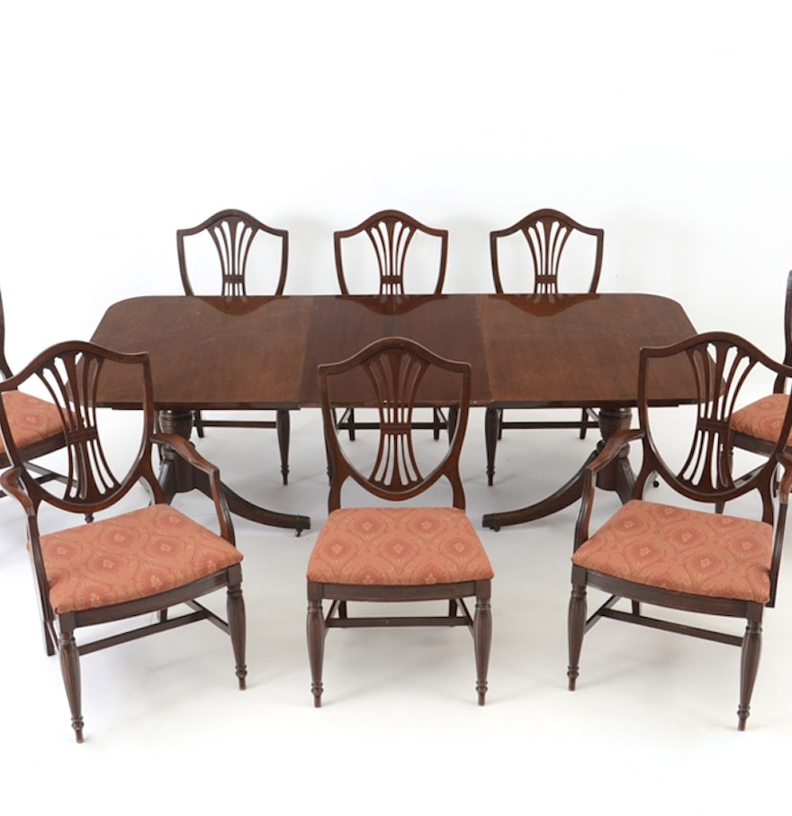 Duncan Phyfe Style Dining Table And Eight Chairs EBTH