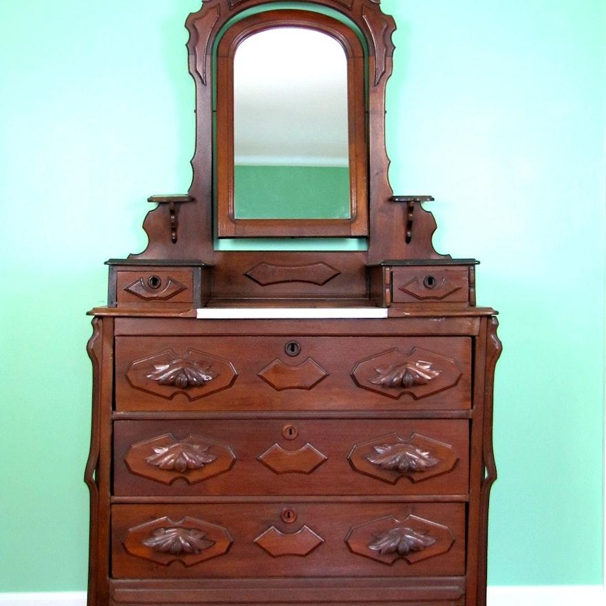 Antique Victorian Marble Top Dresser With Mirror