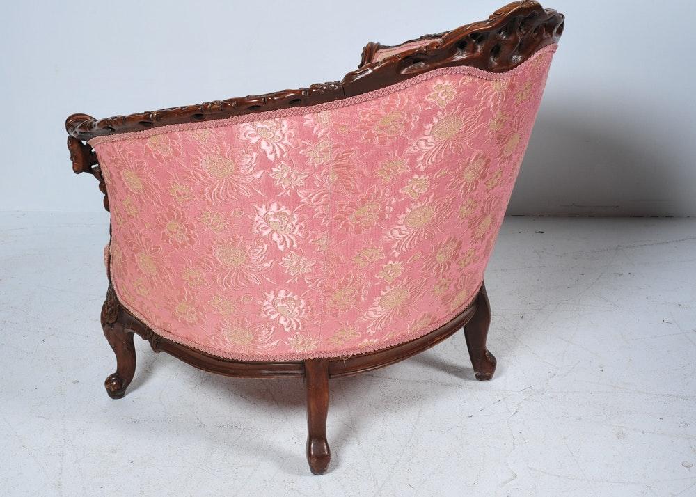 Pink Brocade Louis Xv Bergere Chair Ebth
