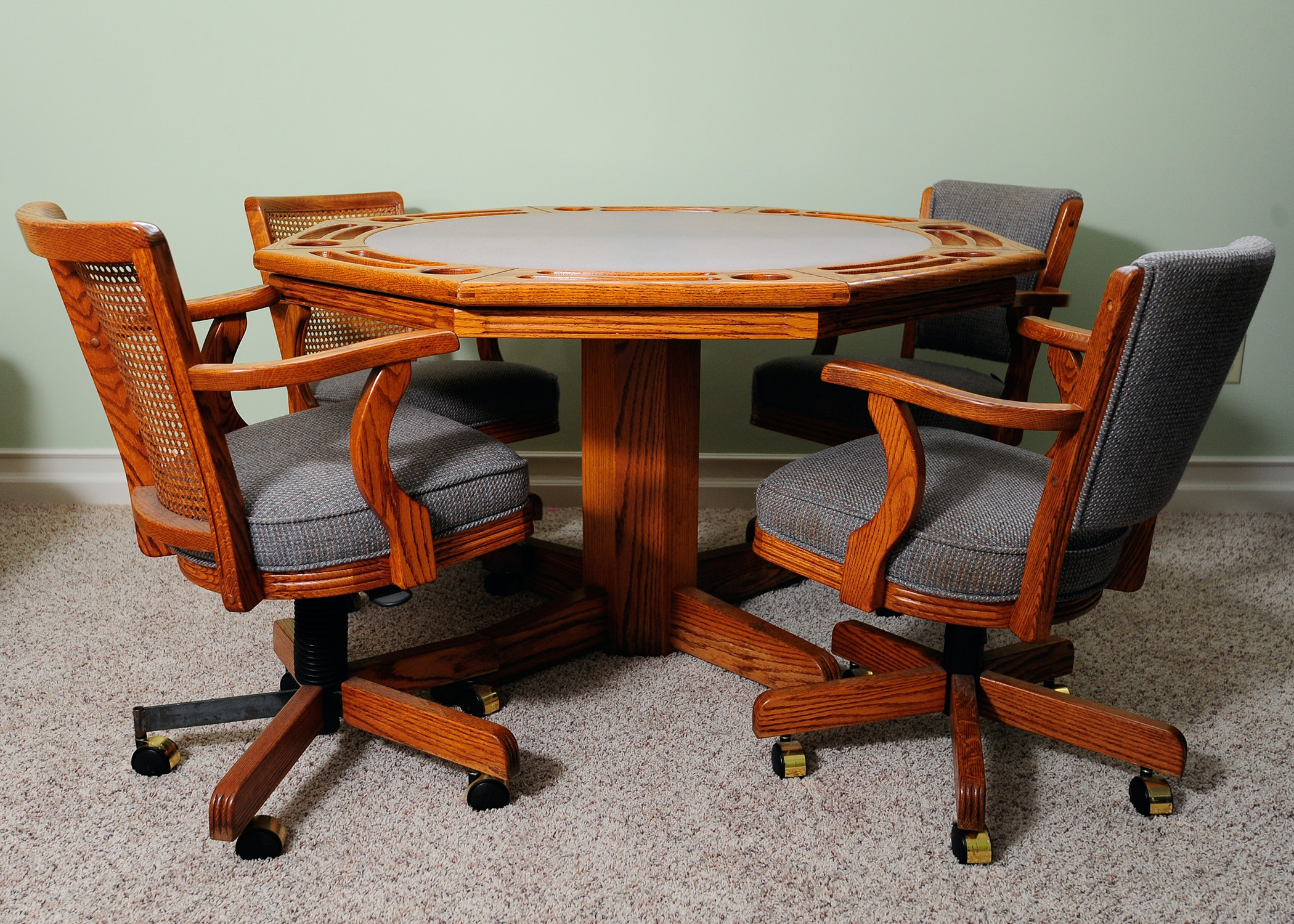 Oak Flip Top Poker Table With 4 Chairs ...