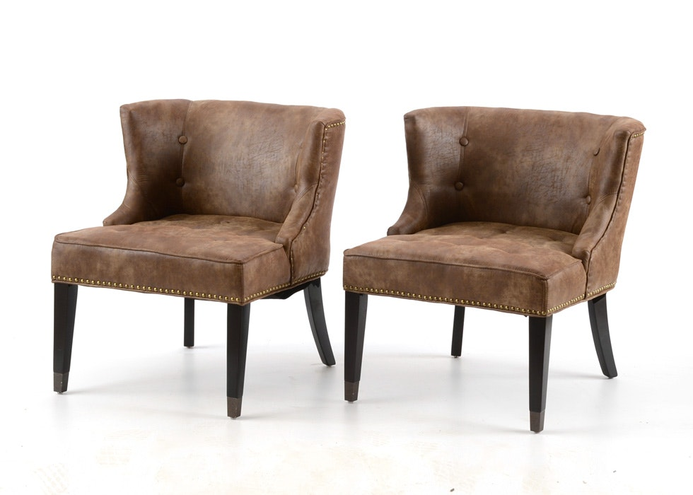 Pair Of World Market Bonded Leather Microfiber Side Chairs ...