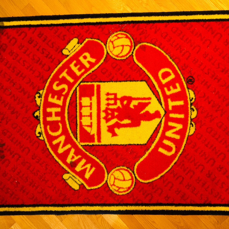Manchester United Football Soccer Club Rug And Collector Cards