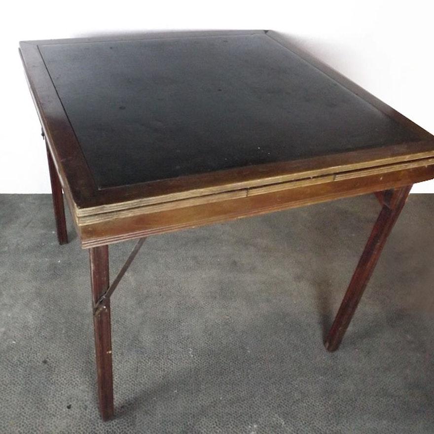 vintage wood folding card table ebth. Black Bedroom Furniture Sets. Home Design Ideas