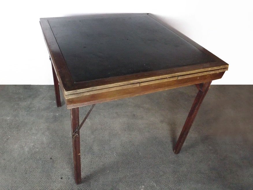Vintage Wood Folding Card Table ...