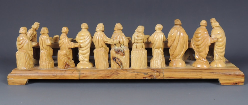 Last Supper Olive Wood Carving Zacharia Bros Ebth