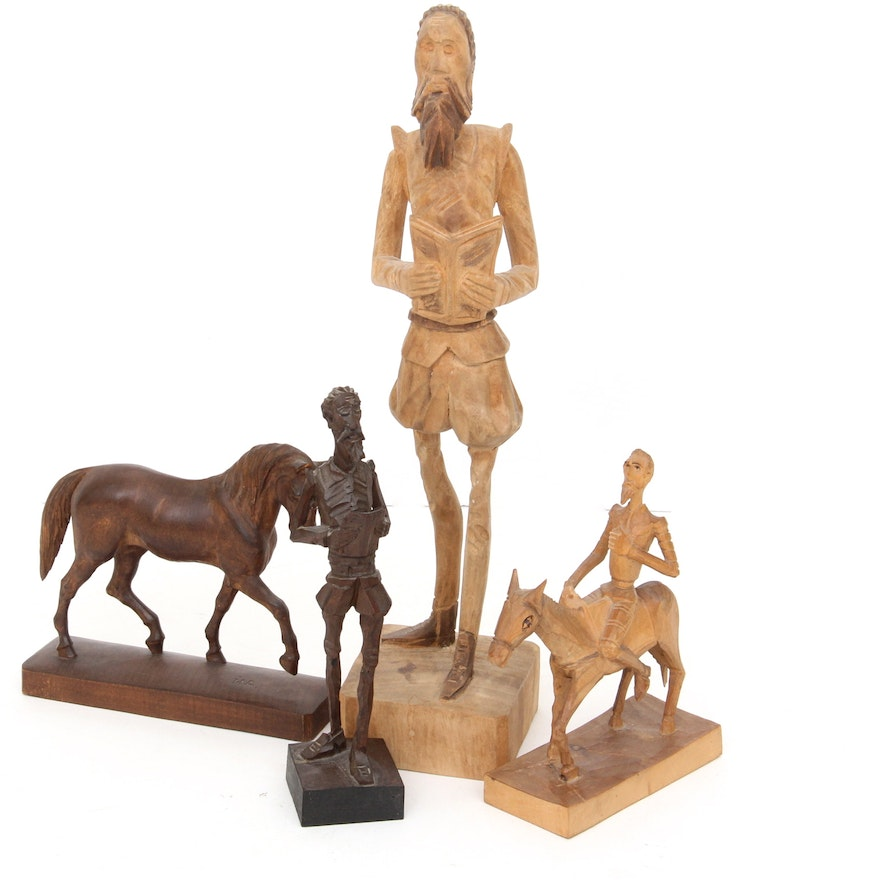 Vintage Hand-Carved Wood Sculpture Don Quixote and Three Others : EBTH