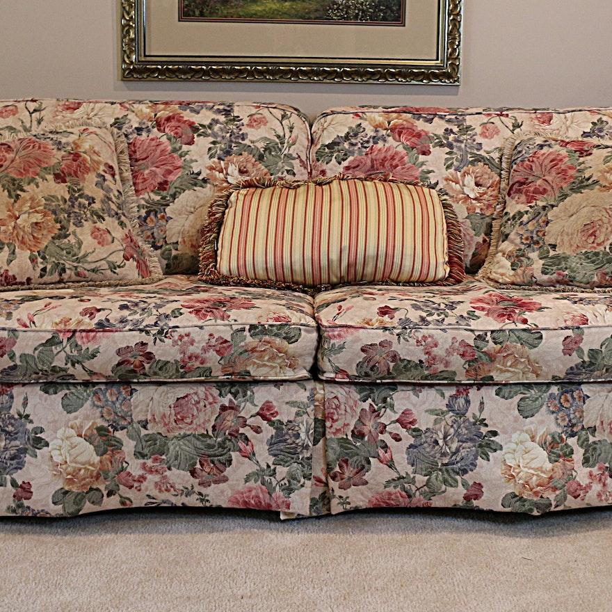 Lazy-Boy Floral Sofa And Pillows : EBTH