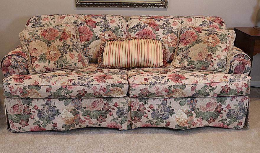 Lazy Boy Floral Sofa And Pillows Ebth