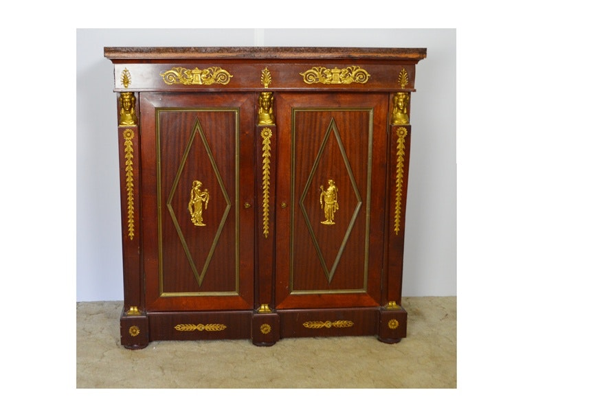 French Louis XV Style Mahogany And Ormolu Sideboard
