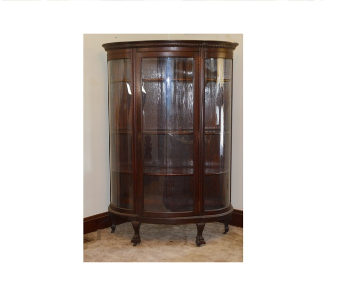 Antique Victorian Bow Front China Cabinet Circa 1890 : EBTH