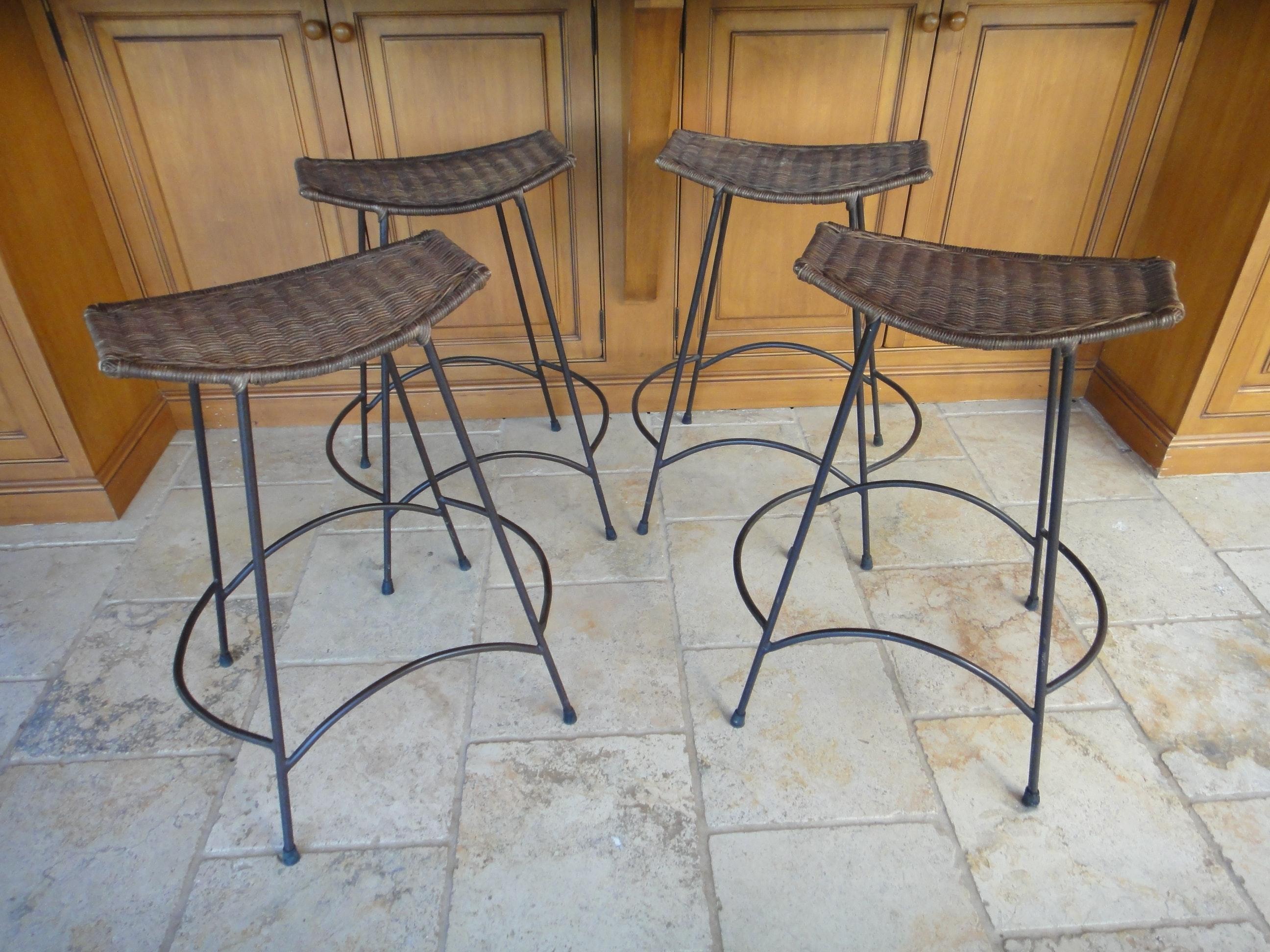 Four Vintage Wrought Iron Wicker Bar Stools Ebth