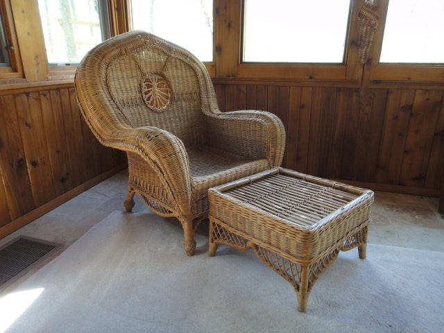 Genial Vintage Ralph Lauren Wicker Straw Chair And Ottoman ...