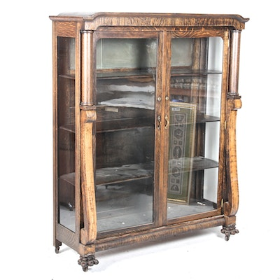Antique Oak Display Cabinet - Vintage And Antique Cabinets Auction In Columbus, Ohio Showroom Sale