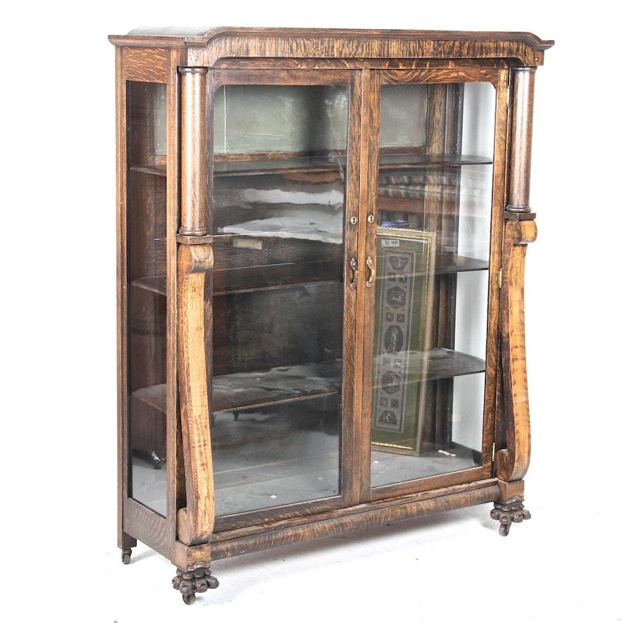 Antique Oak Display Cabinet ... - Antique Oak Display Cabinet : EBTH