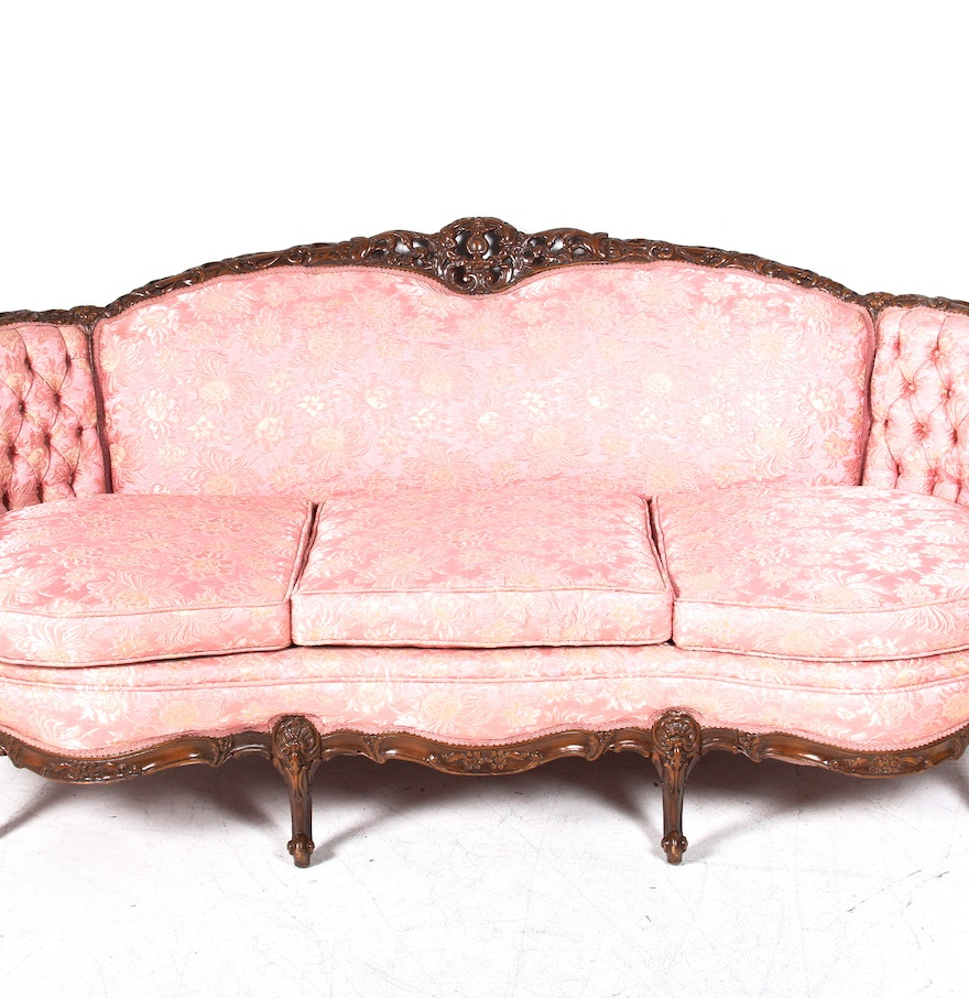 Pink Brocade Louis XV Style Bergere Sofa. Online Furniture Auctions   Vintage Furniture Auction   Antique