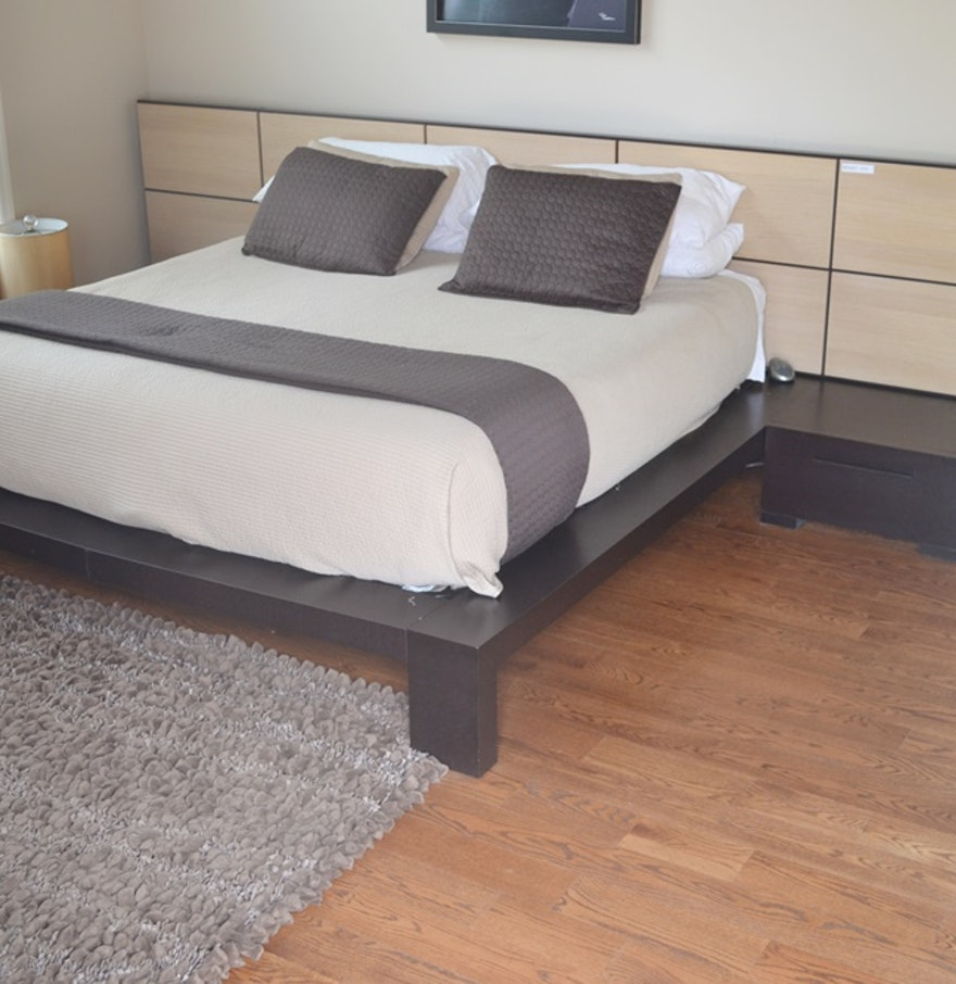 soho contemporary platform bed with mattress night stands ebth. Black Bedroom Furniture Sets. Home Design Ideas