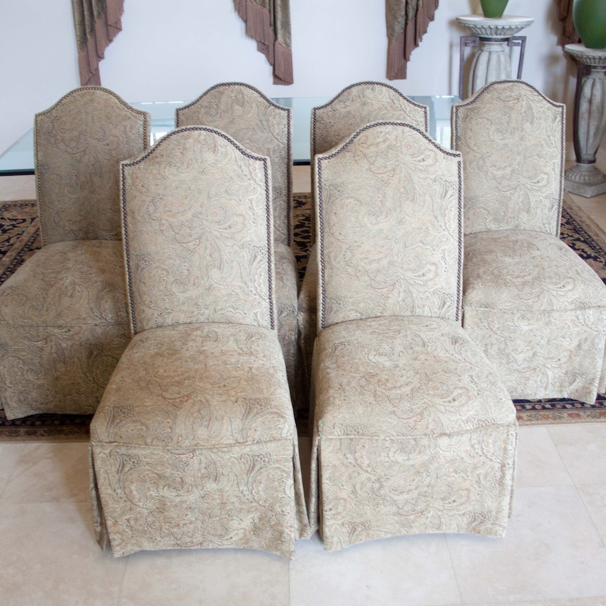 Set Of Six Skirted Parsons Chairs