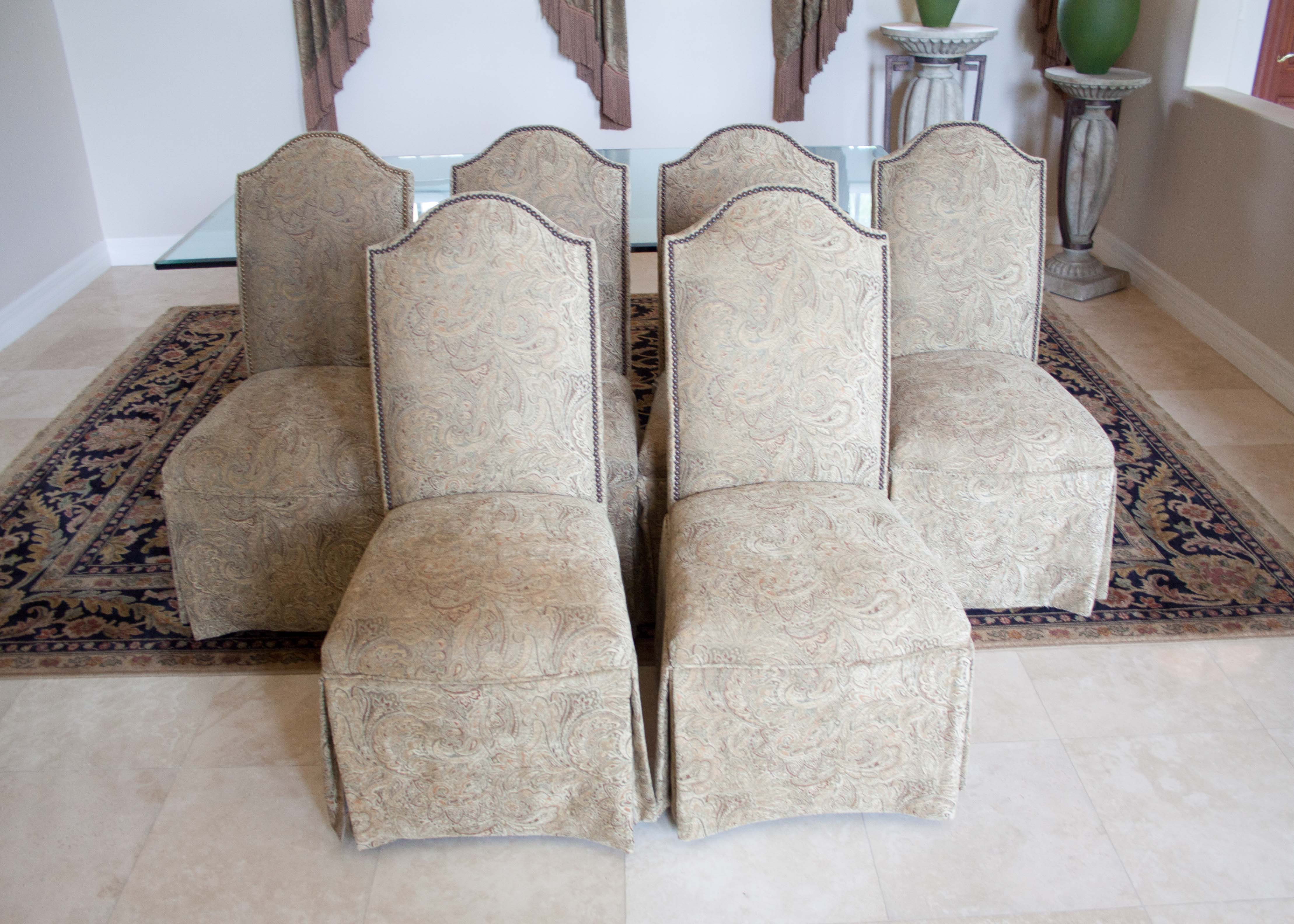 Set Of Six Skirted Parsons Chairs ...