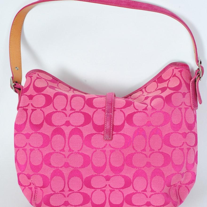 03fdb55f1da Signature Pink Jacquard Coach Bag   EBTH