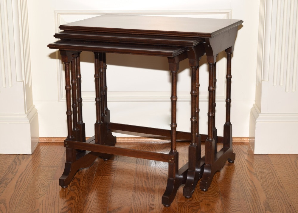 mahogany nesting tables from ethan allen
