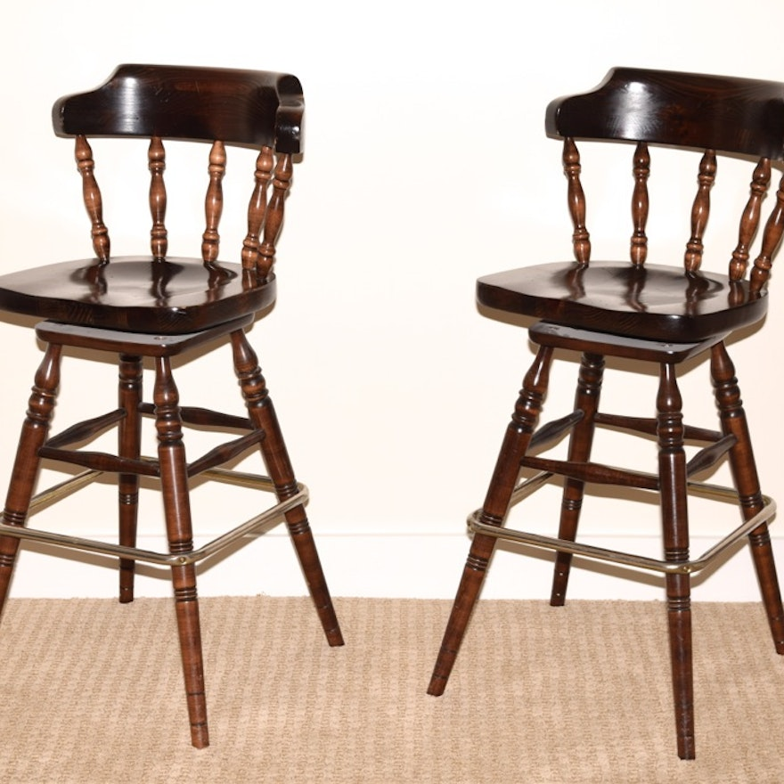 Swivel Bar Stools In Stained Knotty Pine