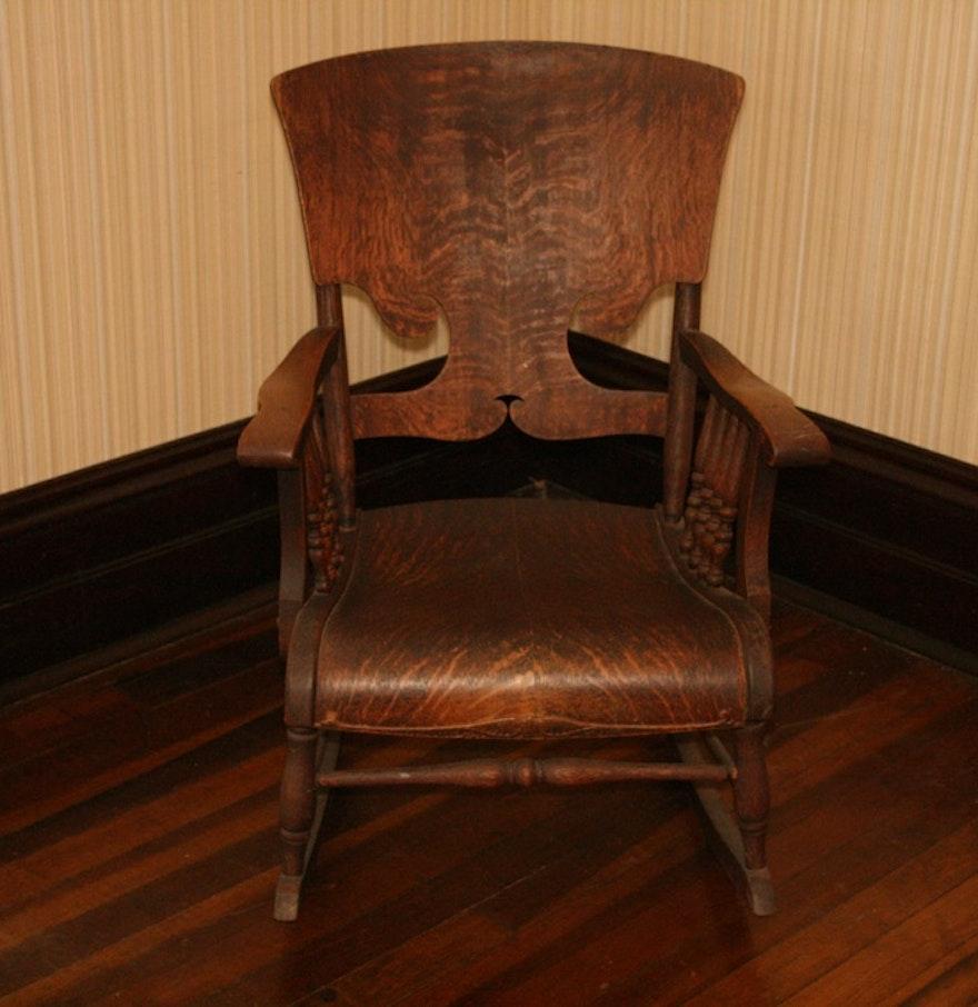 Antique oak rocking chair - Vintage Oak Rocking Chair