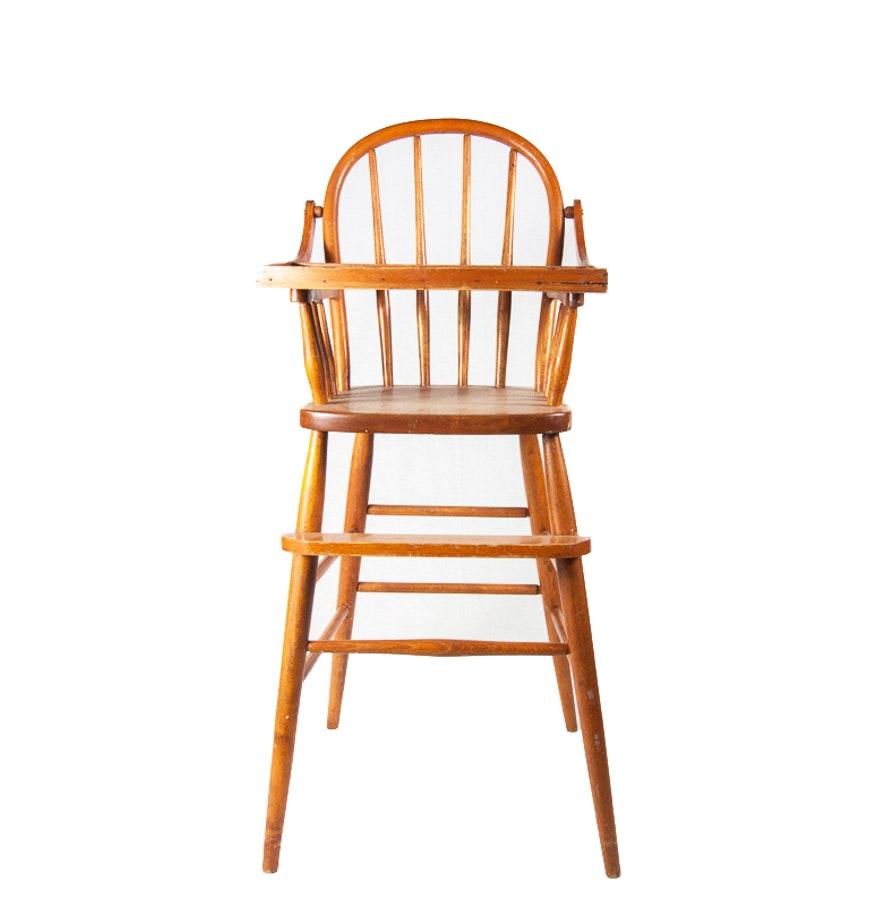 Child 39 s vintage wooden high chair ebth for Child s first chair