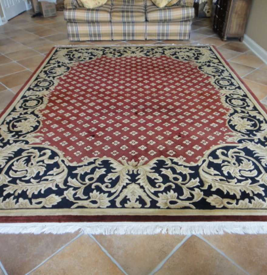 Navy red and gold european style area rug 12x9 ebth for Red and gold area rugs