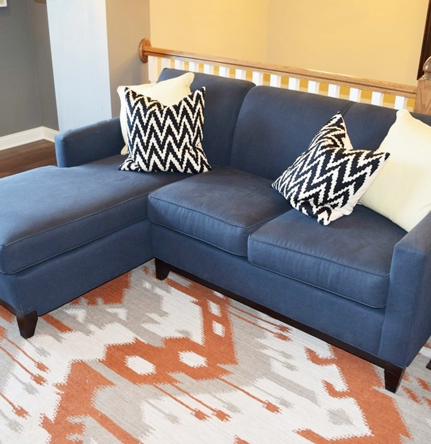 Rowe furniture navy blue sectional sofa with chaise ebth for Blue sofa with chaise