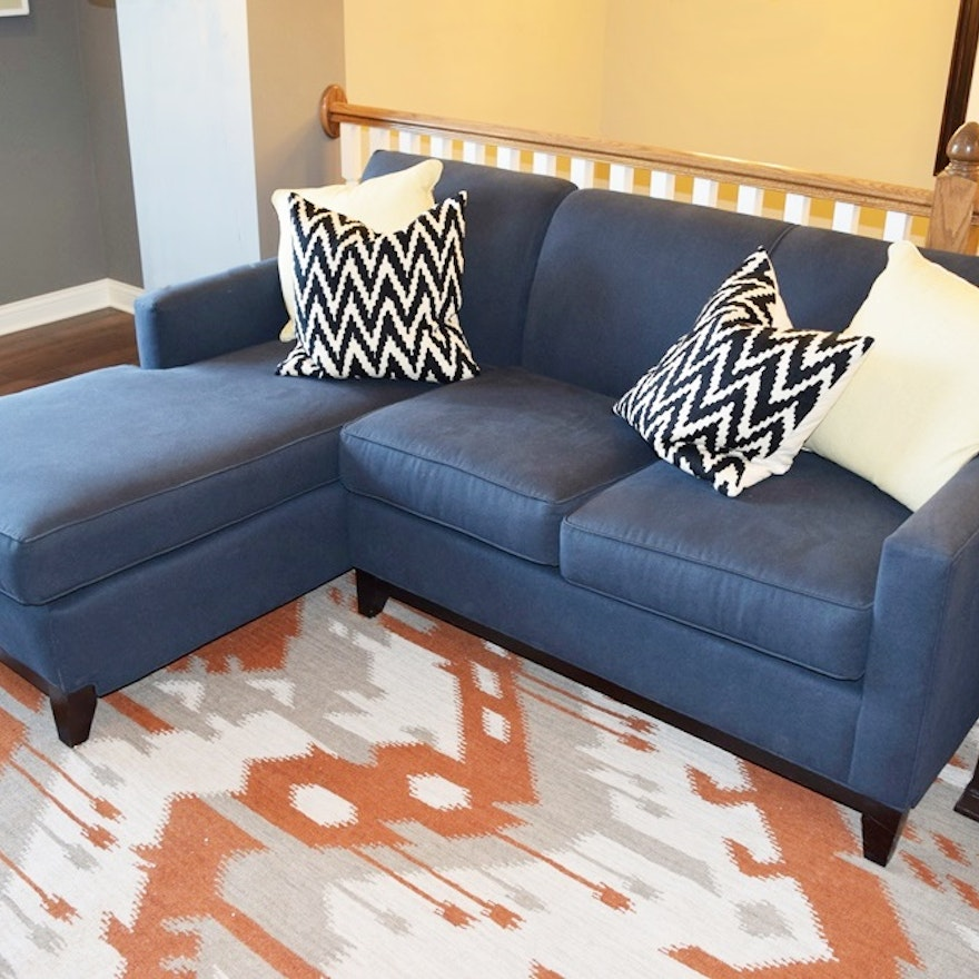 Rowe Furniture Navy Blue Sectional Sofa with Chaise